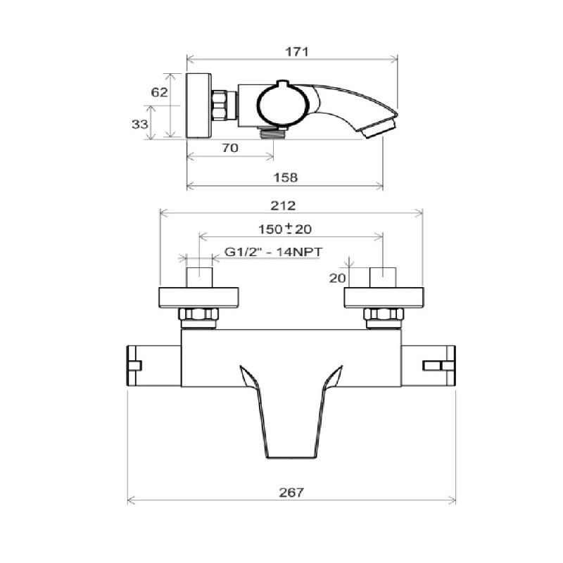 Смеситель для ванны Ravak Termo TE 082.00/150 X070046 с термостатом без лейки
