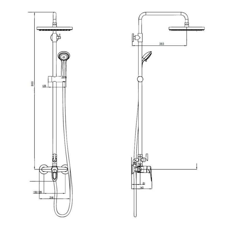 Душевая система  Istok Life luxe 19064 с верхним душем и ручной лейкой со смесителем