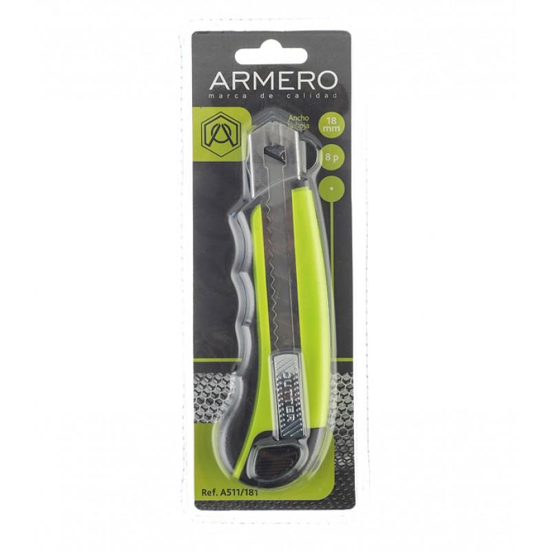 Нож строительный Armero 18 мм с ломающимся лезвием (8 лезвий) пластиковый корпус