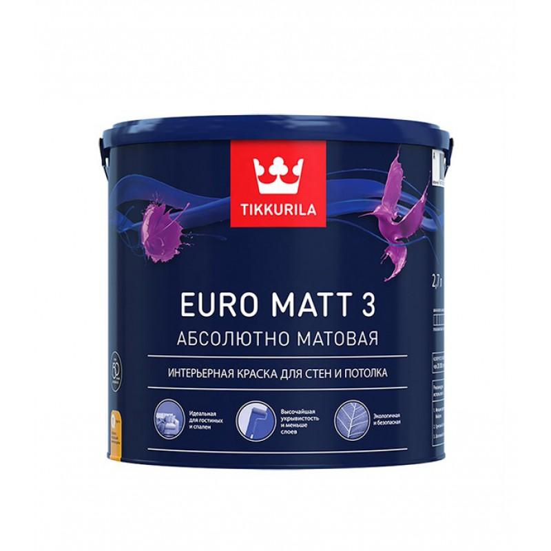 Краска водно-дисперсионная интерьерная Tikkurila EURO MATT 3 основа C 2,7 л