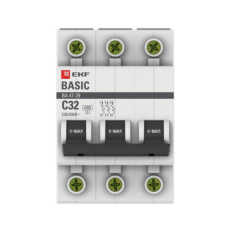 Автоматический выключатель EKF ВА 47-29 (mcb4729-3-32C) 3P 32А тип C 4,5 кА 400 В на DIN-рейку