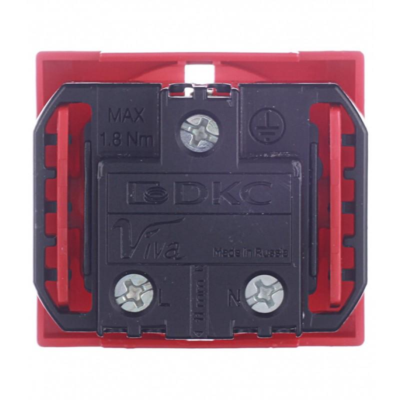 Розетка для кабель-канала DKC Viva 45015 красная со шторками под 2 модуля