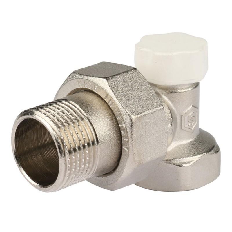 Клапан (вентиль) запорный угловой Stout (SVL-1156-000020) 3/4 НР(ш) х 3/4 ВР(г) для радиатора никелерованный