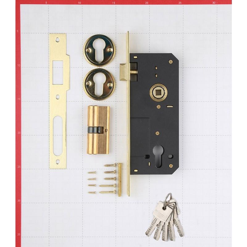 Замок врезной Palladium 2000 PB универсальный под цилиндр (латунь) 5 ключей (фото 3)