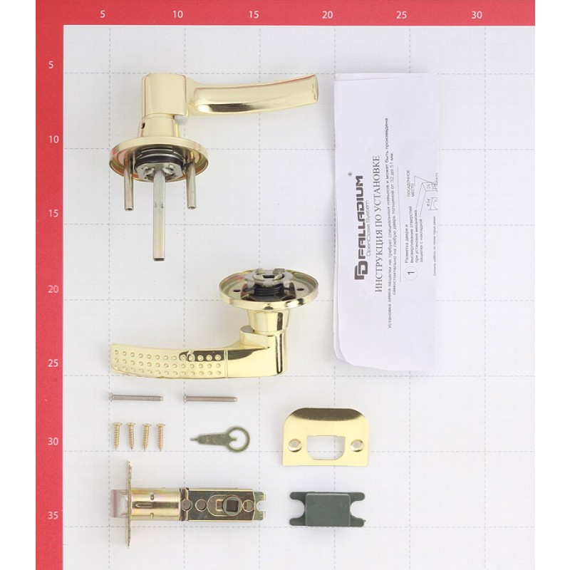 Ручка-защелка Palladium 3903 PB PS без ключа и фиксатора (латунь)