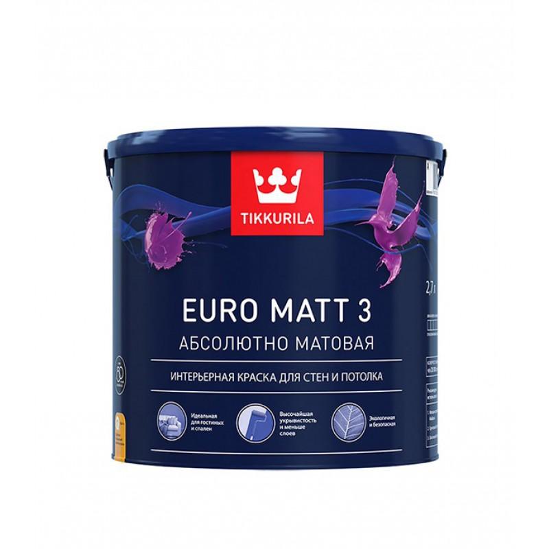 Краска водно-дисперсионная интерьерная Tikkurila EURO MATT 3 белая основа А 2,7 л