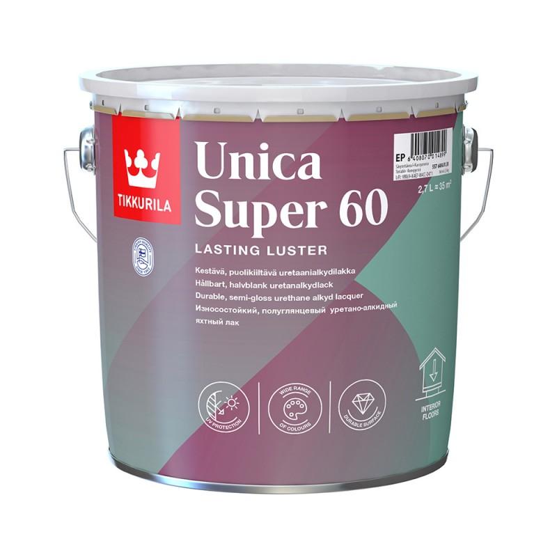 Лак алкидно-уретановый яхтный Tikkurila Unica Super 60 основа EP бесцветный 2,7 л полуглянцевый