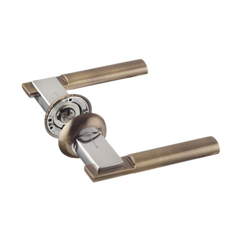 Ручка дверная Palladium City A Rio AB/CP круглая розетка (античная бронза/хром)