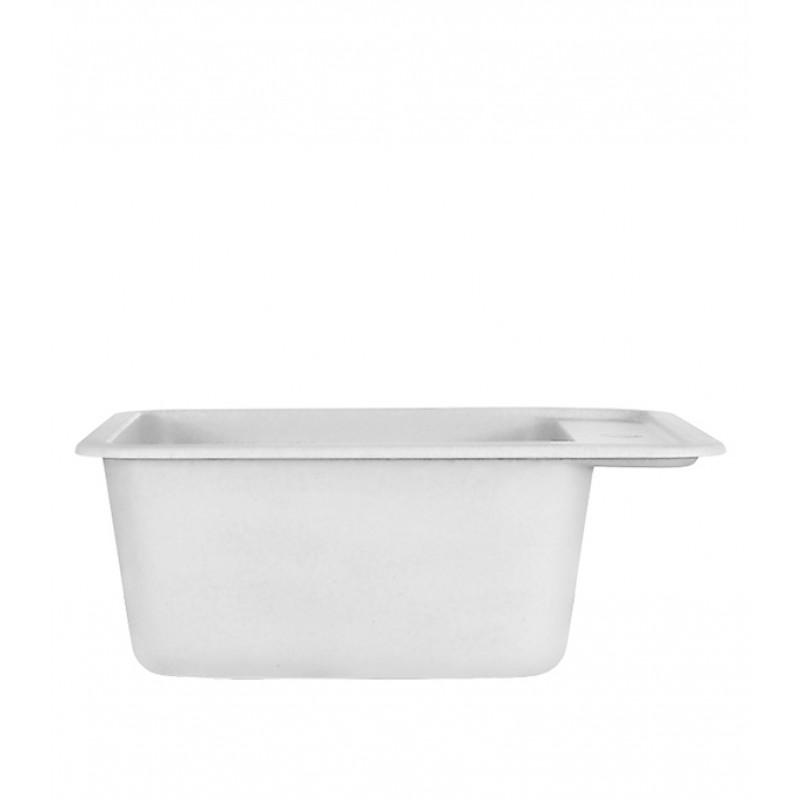 Мойка для кухни GRANULA Standart 420х500х190 мм врезная прямоугольная без крыла кварц белый