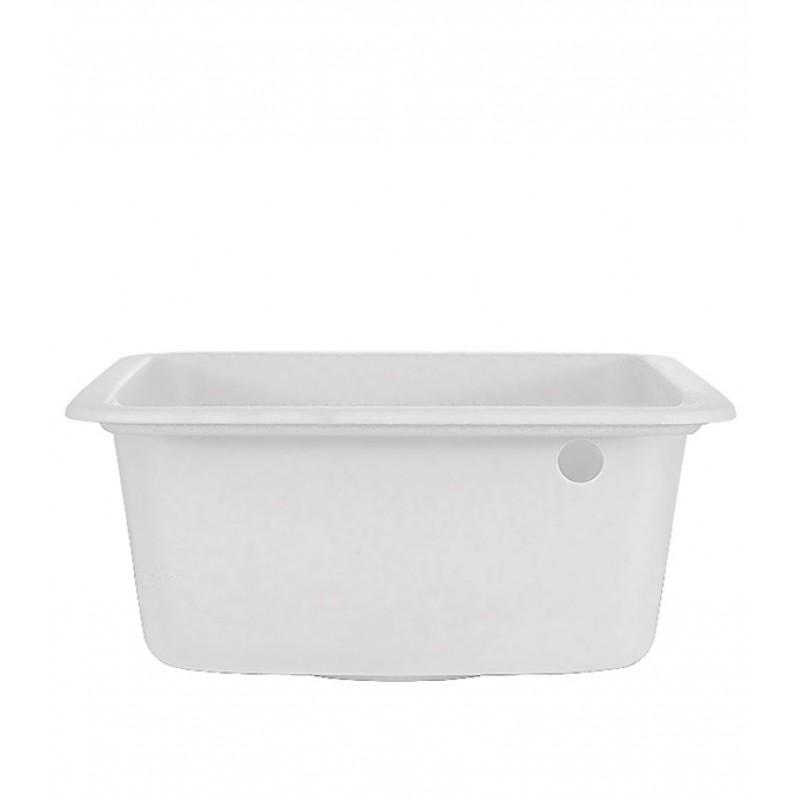 Мойка для кухни GRANULA Standart 420х500х190 мм врезная прямоугольная без крыла кварц белый (фото 2)