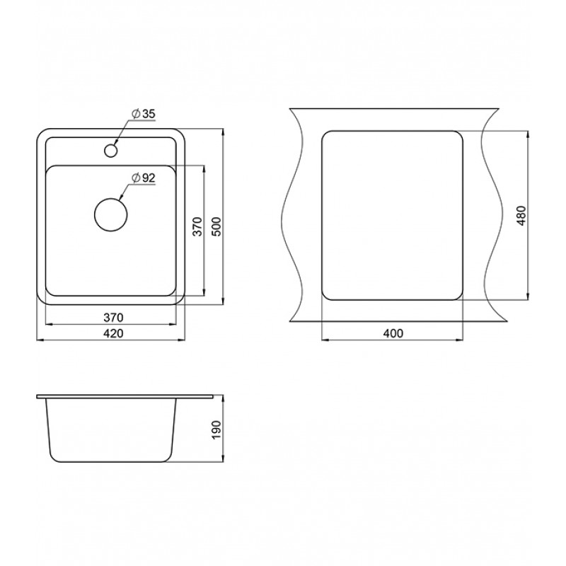 Мойка для кухни GRANULA Standart 420х500х190 мм врезная прямоугольная без крыла кварц белый (фото 3)