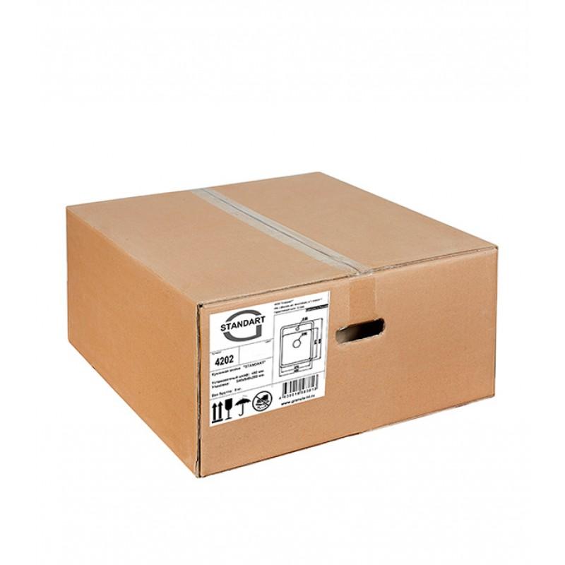 Мойка для кухни GRANULA Standart 420х500х190 мм врезная прямоугольная без крыла кварц белый (фото 4)