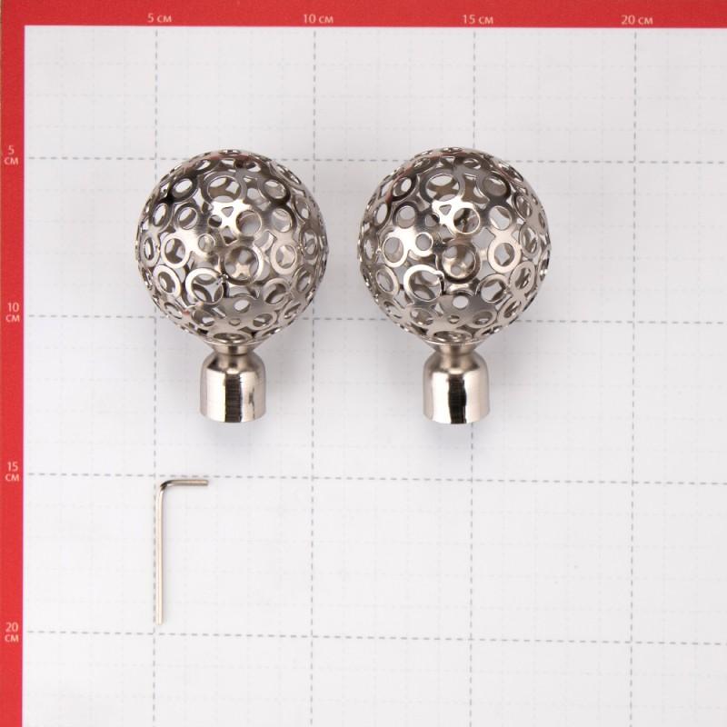 Наконечник Шар ажурный d 16 мм серебро 2 шт. (фото 3)
