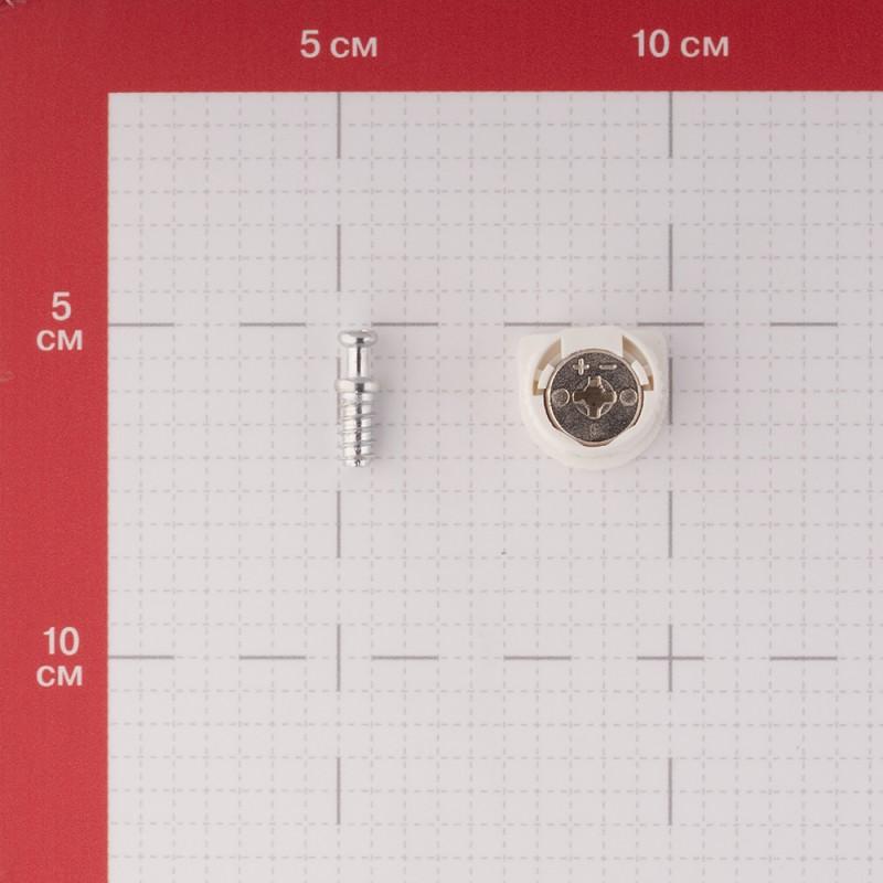 Полкодержатель-стяжка d20 мм белый со штоком 11 мм (4 шт.)