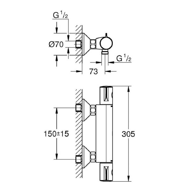 Смеситель термостат для душа без излива GROHE Grohtherm 800 34558000 без лейки (фото 2)