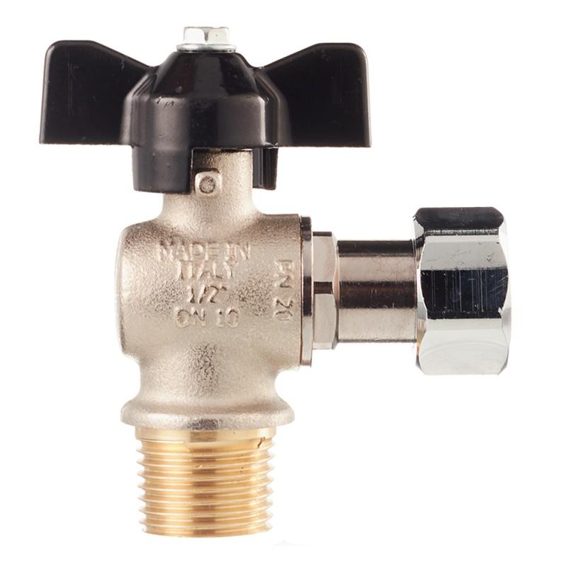 Кран шаровой Stout (SVB-0010-000015) 1/2 НР(ш) х 1/2 НР(ш) бабочка с накидной гайкой угловой