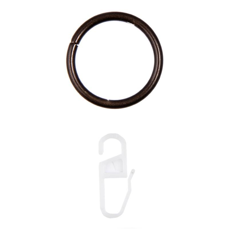 Кольцо с крючком d 20 мм шоколад 10 шт.