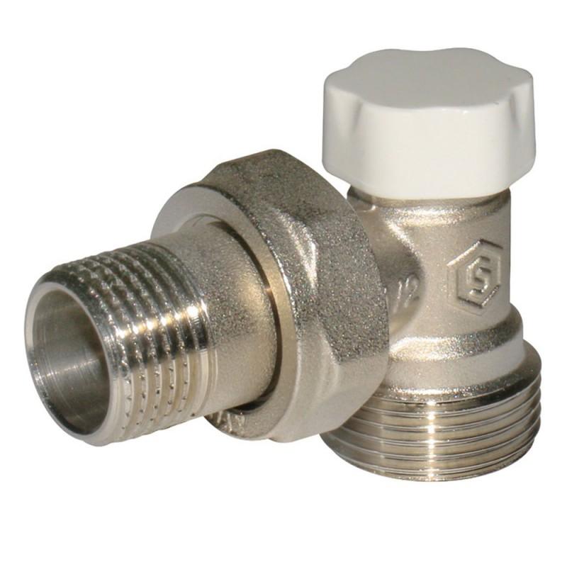 Клапан (вентиль) запорный угловой Stout (SVL-1166-000015) 1/2 ВР(г) х 3/4 НР(ш) для радиатора под евроконус никелерованный