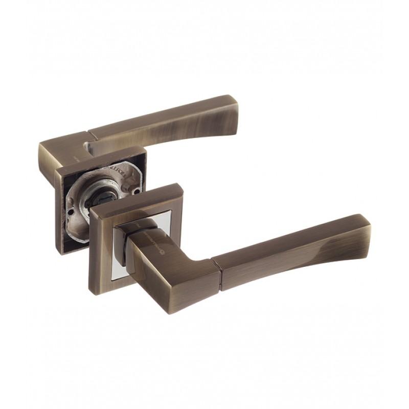 Ручка дверная Palladium City A Trevi AB квадратная розетка (античная бронза)