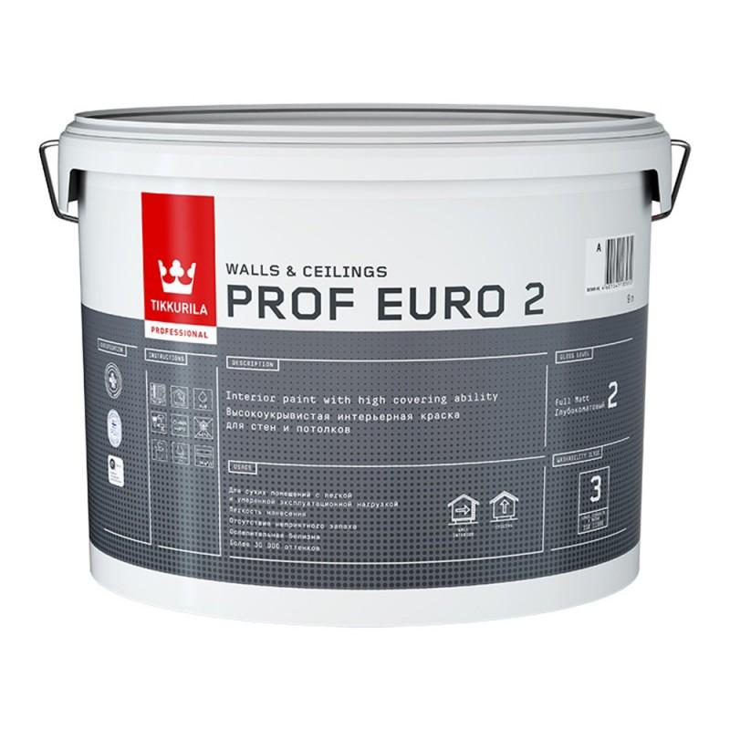 Краска водно-дисперсионная интерьерная Tikkurila PROF EURO 2 белая основа VVA 9 л