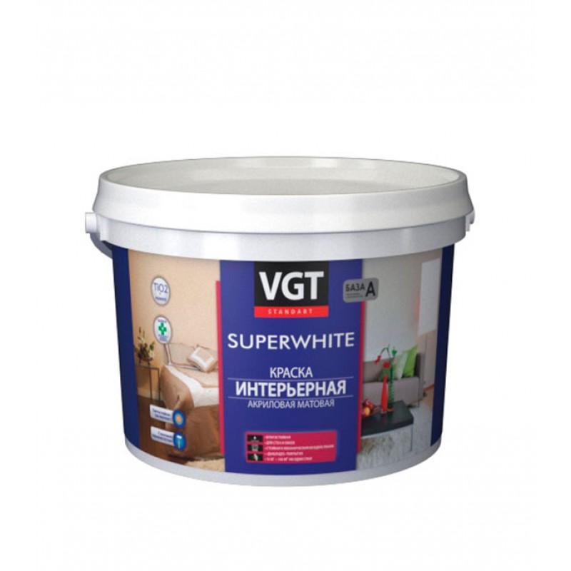 Краска водно-дисперсионная интерьерная VGT Super white белая основа А 2 л/3 кг