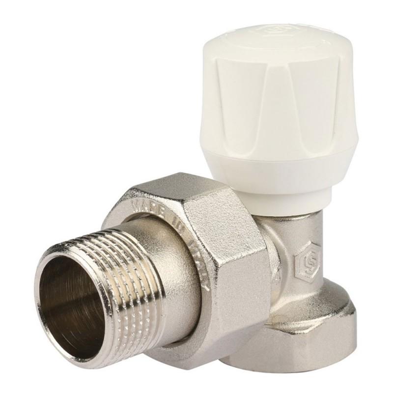 Клапан (вентиль) термостатический угловой Stout (SVR-2102-000020) 3/4 НР(ш) х 3/4 ВР(г) для радиатора никелерованный
