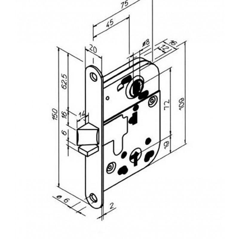 Замок врезной 2014 для межкомнатной двери под завертку (хром) 1 ключ