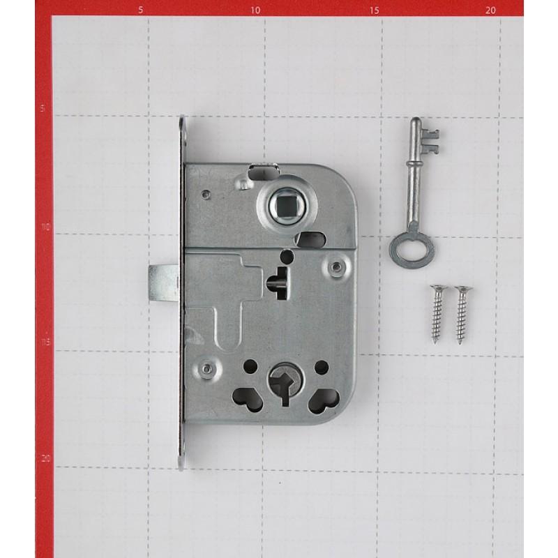 Замок врезной 2014 для межкомнатной двери под завертку (хром) 1 ключ (фото 2)
