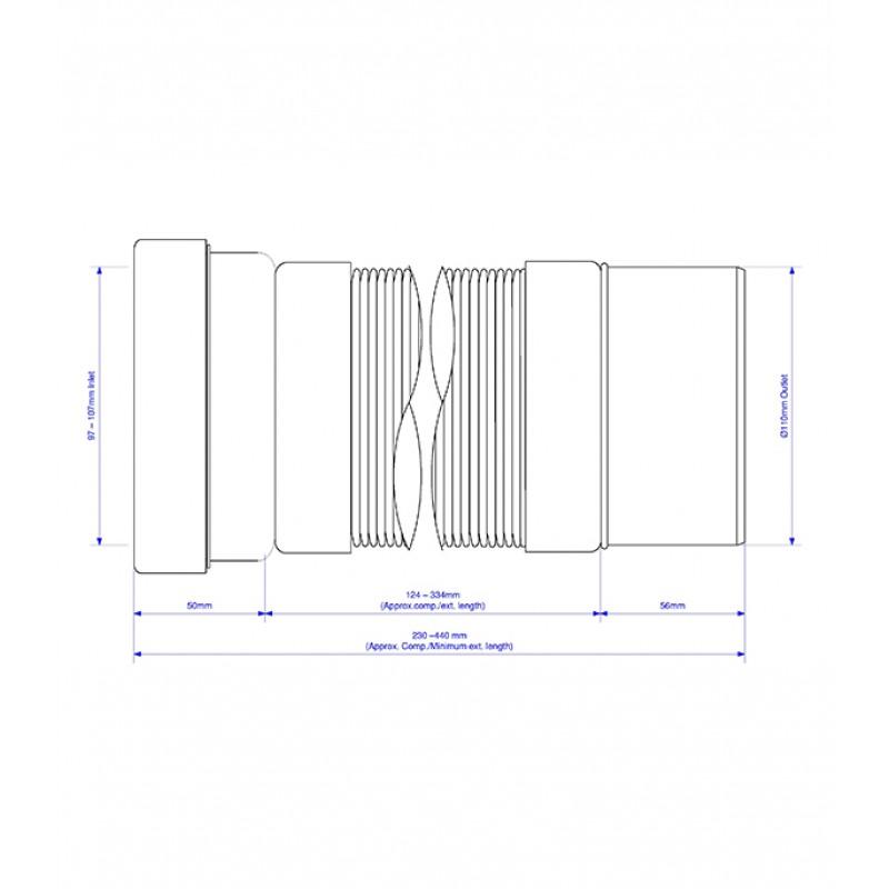 Слив для унитаза McAlpine d110 мм пластиковый гофрированный для внутренней канализации