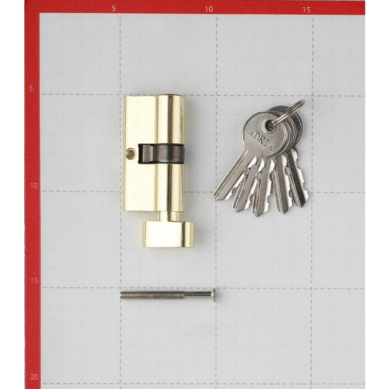 Цилиндр Adria 2018 60 (30х30) мм ключ/вертушка золото