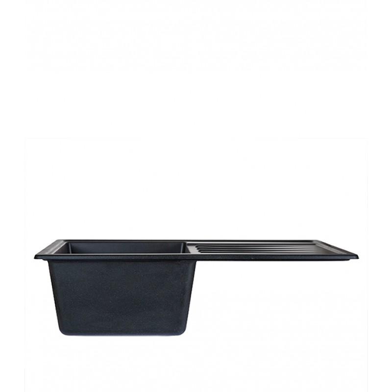 Мойка для кухни GRANULA Standart 760х500х200 мм врезная прямоугольная с крылом кварц черный