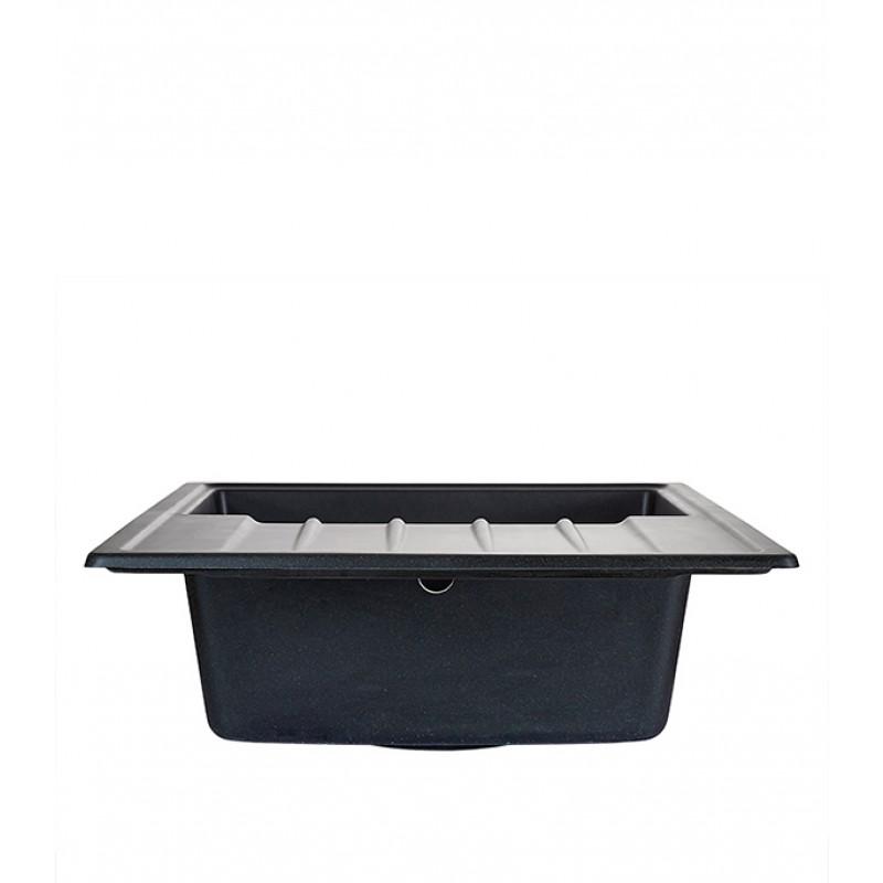 Мойка для кухни GRANULA Standart 760х500х200 мм врезная прямоугольная с крылом кварц черный (фото 2)