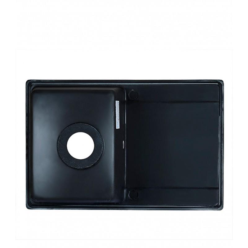 Мойка для кухни GRANULA Standart 760х500х200 мм врезная прямоугольная с крылом кварц черный (фото 4)