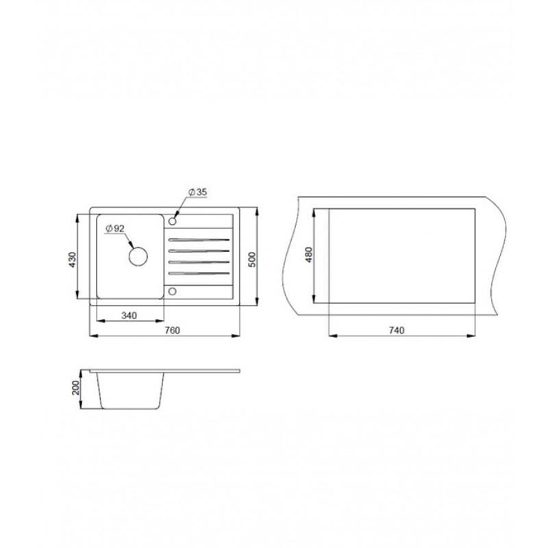 Мойка для кухни GRANULA Standart 760х500х200 мм врезная прямоугольная с крылом кварц черный (фото 5)