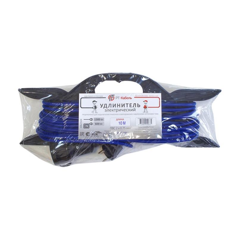 Удлинитель силовой на рамке без заземления 10 м 6 А 220-250 В ПВС 2х0,75 мм2 1 розетка 1,3 кВт IP44