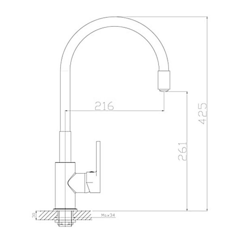 Смеситель для кухни ROSSINKA Z Z35-35U-Gray c гибким изливом серый/хром